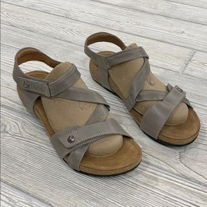 Taos Gray Leather Trulie Sandals - sz 38